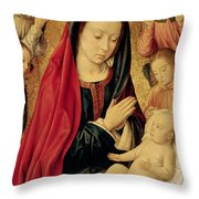 The Virgin And Child Adored By Angels  Throw Pillow