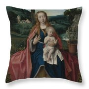The Virgin And Child In A Landscape Throw Pillow