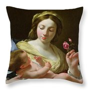 The Virgin And Child With A Rose Throw Pillow