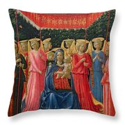 The Virgin And Child With Angels Throw Pillow