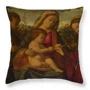 The Virgin And Child With Saints Throw Pillow