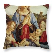The Virgin And Child With Two Angels Throw Pillow