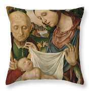 The Virgin And Saint Joseph  Adoring The Christ Child Throw Pillow