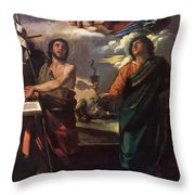 The Virgin Appearing To Saints John The Baptist And John The Evangelist 1520 Throw Pillow