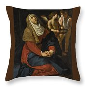 The Virgin In Prayer At The Foot Of The Cross, With Crying Angels Throw Pillow