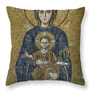 The Virgin Mary Holds The Child Christ On Her Lap Throw Pillow