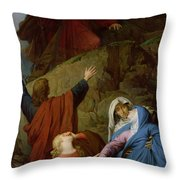 The Virgin Of Calvary Throw Pillow by Jules Eugene Lenepveu