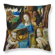 The Virgin Of The Rocks Throw Pillow