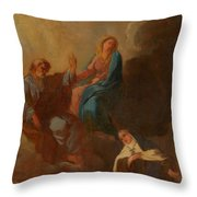 The Virgin Placing St Teresa Under The Protection Of St Joseph Throw Pillow