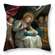 The Virgin Sewing Accompanied By Four Angels. La Couseuse Throw Pillow