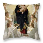 The Virgin With Angels Throw Pillow