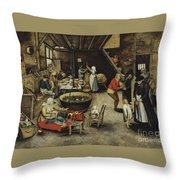 The Visit To The Farm Throw Pillow