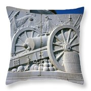 The Vittorio Emanuele Monument Marble Relief Of A Canon Standards Rome Italy Throw Pillow