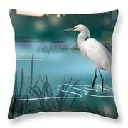 The Wading Hunter Throw Pillow