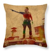 The Walking Dead Watercolor Portrait On Worn Distressed Canvas No 1 Throw Pillow