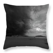 The Wall Of The Storm Good Harbor Beach Gloucester Ma Black And White Throw Pillow