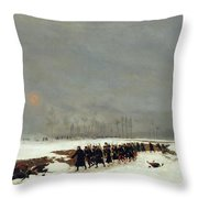 The War Of 1870 An Infantry Column On Their Way To A Raid Throw Pillow