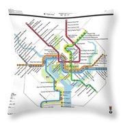 The Washington, D. C. Pubway Map Throw Pillow