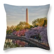 The Washington Monument And The Cherry Blossoms Throw Pillow