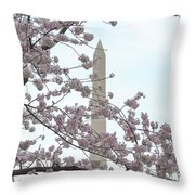 The Washington Monument At The Cherry Blossom Festival Throw Pillow