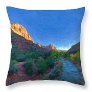 The Watchman Zion National Park Throw Pillow