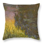 The Water Lilies, Setting Sun Throw Pillow