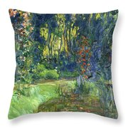 The Water-lily Pond At Giverny  Throw Pillow