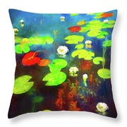 The Water Lily Pond Throw Pillow
