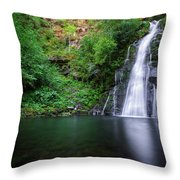 The Waterfall And Large Pool Of Vieiros Throw Pillow
