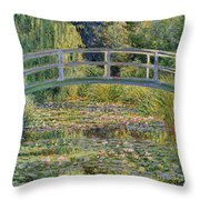 The Waterlily Pond With The Japanese Bridge Throw Pillow