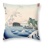 The Wave Throw Pillow by Hiroshige