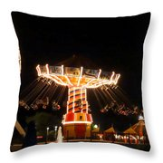 The Wave Swinger Ride Navy Pier Chicago Throw Pillow
