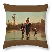 The Way From The Village. Time Of Inundation. Egypt Throw Pillow