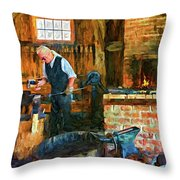The Way We Were - The Blacksmith - Paint Throw Pillow