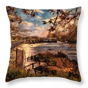 The Weir At Teddington Throw Pillow
