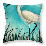 The White Egret Throw Pillow