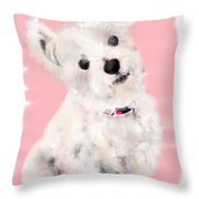 The White Pooch Throw Pillow