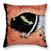 The White Sacred Buffalo Fresco Throw Pillow