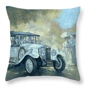 The White Tourer Throw Pillow