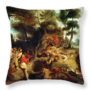 The Wild Boar Hunt Throw Pillow
