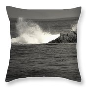 The Wild Pacific In Black And White Throw Pillow