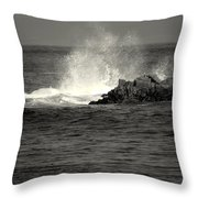 The Wild Pacific In Black And White Two Throw Pillow