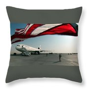 The Wind Blows The U.s. Flag Throw Pillow