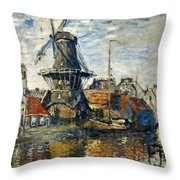 The Windmill On The Onbekende Gracht, Amsterdam 1874 Throw Pillow