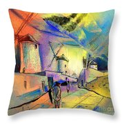 The Windmills Del Quixote 02 Throw Pillow