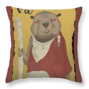 The Wise Beaver Throw Pillow