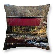 The Wissahickon Creek In Autumn - Thomas Mill Covered Bridge Throw Pillow