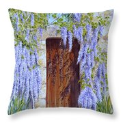 The Wisteria Gate Throw Pillow