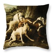 The Wolf Hunt Throw Pillow