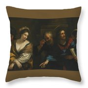The Woman Taken In Adultery Throw Pillow